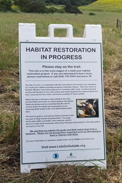 Habitat Restoration Interpretive Signage Bommer Canyon Goat GrazingHabitat Restoration Interpretive Signage Bommer Canyon Goat Grazing