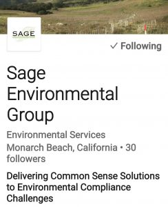 Follow Sage Environmental Group on LinkedIn