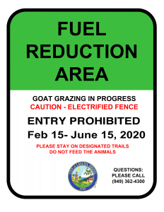 Fuel Reduction Area Sign