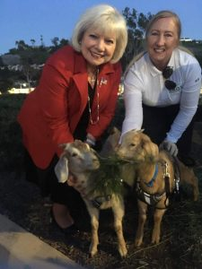 City Council Member Elaine Gennawey with Sage Owner Alissa Cope and two juvenile goats